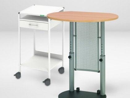 Mesas de trabajo fijas y movibles