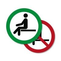 Znak: Zakaz siadania/Miejsca siedzące