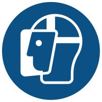 Znak: Nakaz stosowania ochrony twarzy