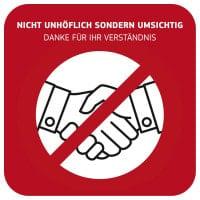 Hinweisschild «Händeschütteln vermeiden»
