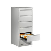 Steel-card index cabinet with innovative  self closing drawer runner