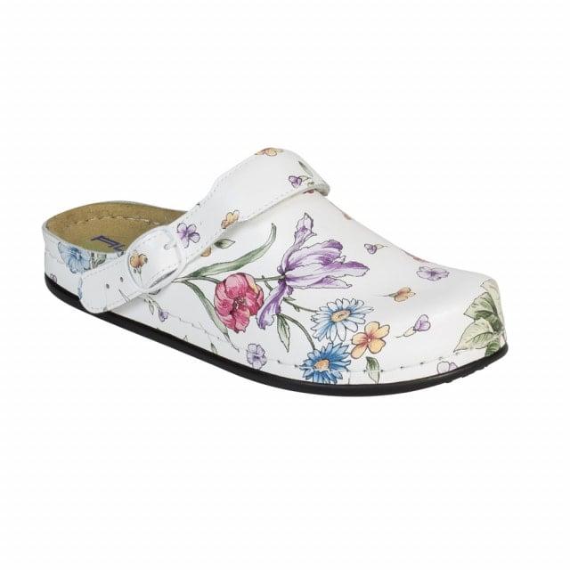 Tiefbett-Clogs «White Flower»