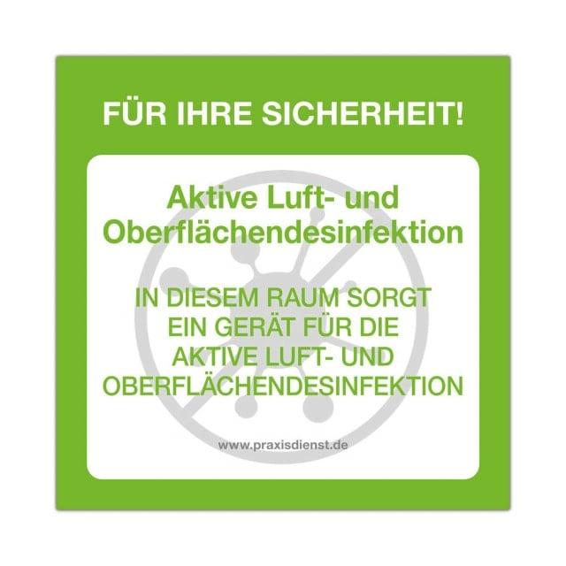 Aufkleber «Aktive Luft- und Oberflächendesinfektion»
