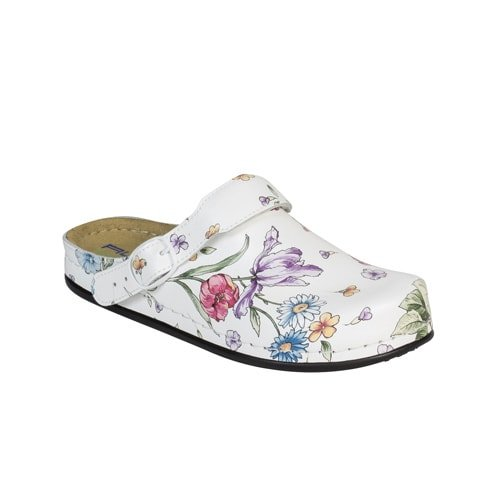 Tiefbett-Clogs «White Flower»