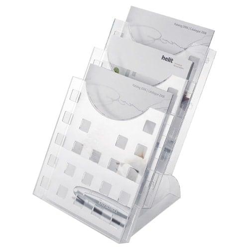 3er Tischprospektständer A4, grau-transparent