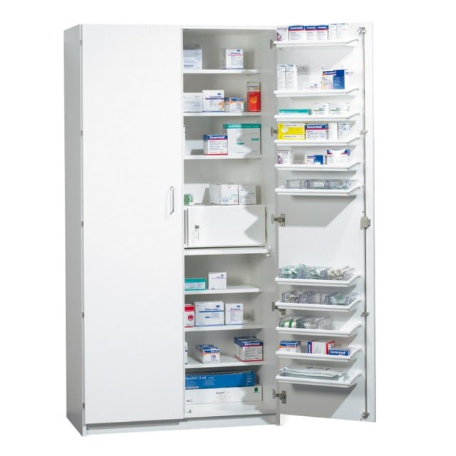 Pharmaceutical cupboard with doors
