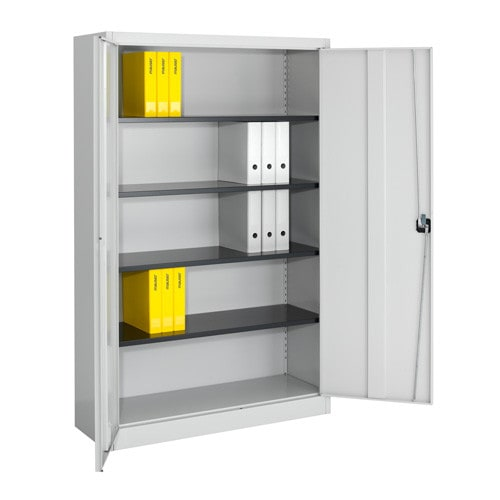 Hinged door cabinet, lockable with rotary cylinder lock