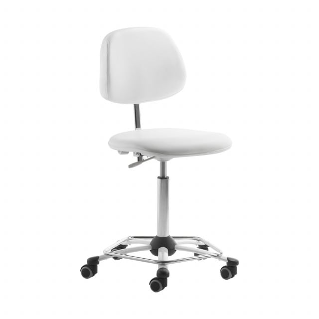 Swivel chair for medical work stations, adjustable height and chrome foot ring