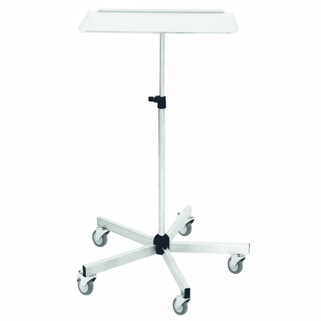 Stainless steel surgical instrument table with five castors for increased stability