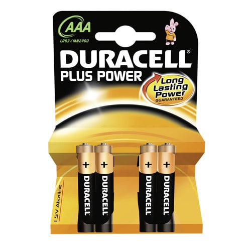 Duracell Plus Power AAA batteries, 4 microcell batteries per pack