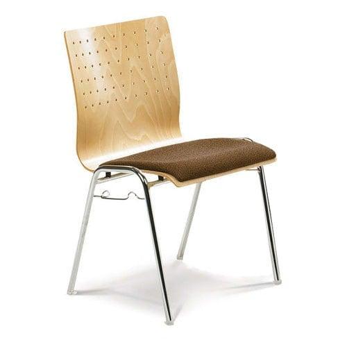 Silla apilable de diseño con respaldo de rejilla y asiento tapizado