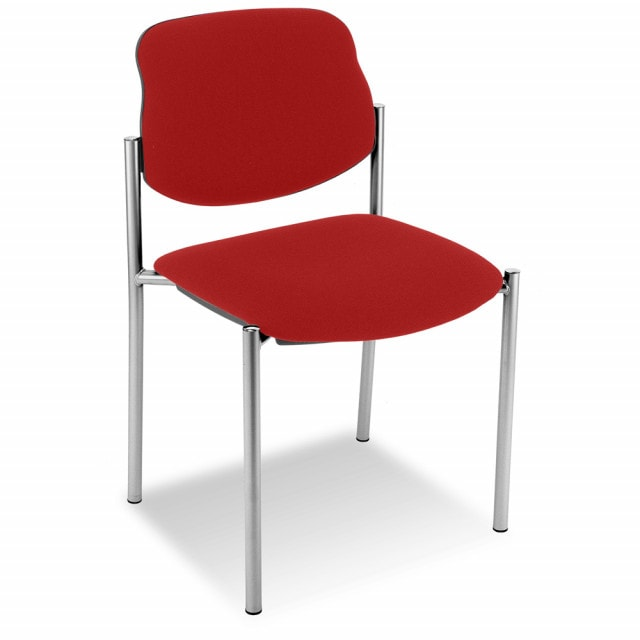 Upholstered reception chair with cushioned seat and backrest