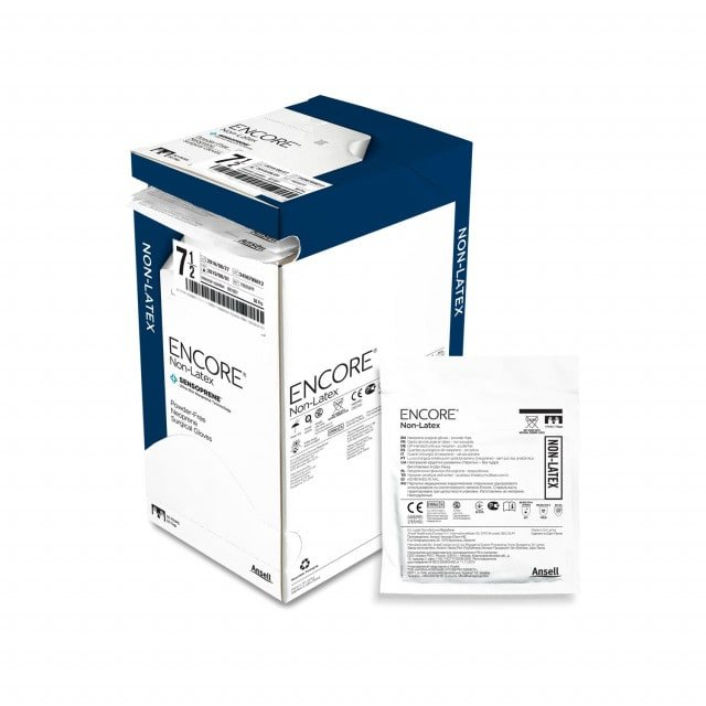 Encore non-latex surgical gloves, box with 50 pairs of gloves