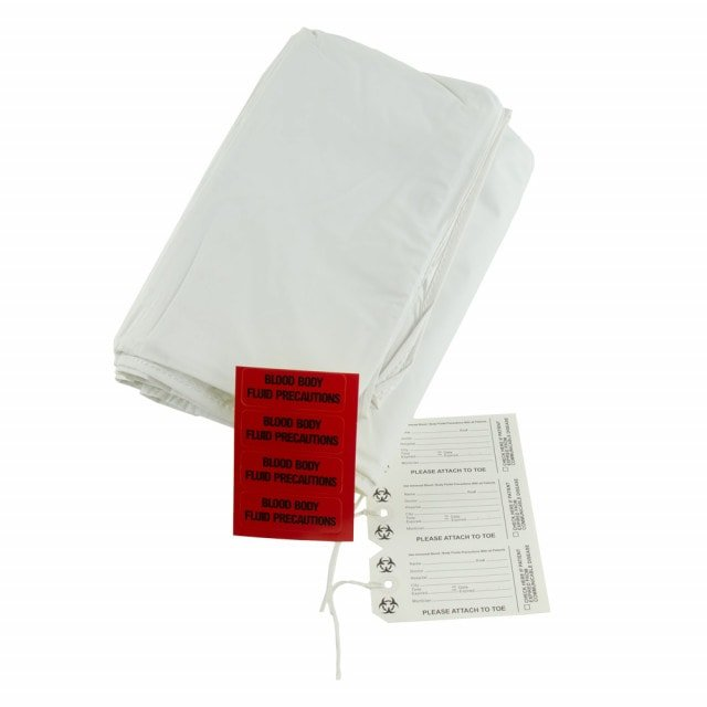 Disposable body bag (cadaver bag) with 113 kg lift capacity