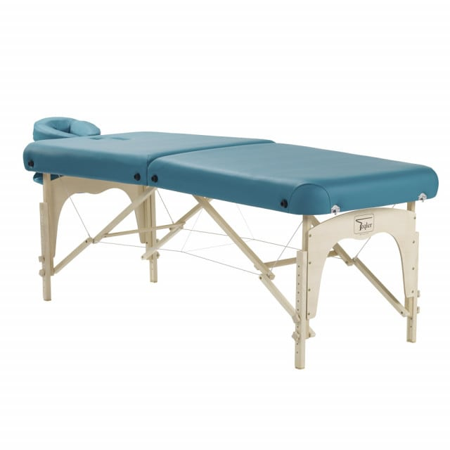 Drewniana leżanka do masażu - składana, przenośna kozetka do terapii manualnych