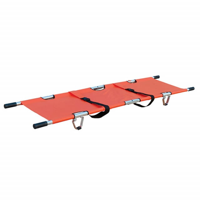 Stretcher with robust PVC lying surface and safety belts