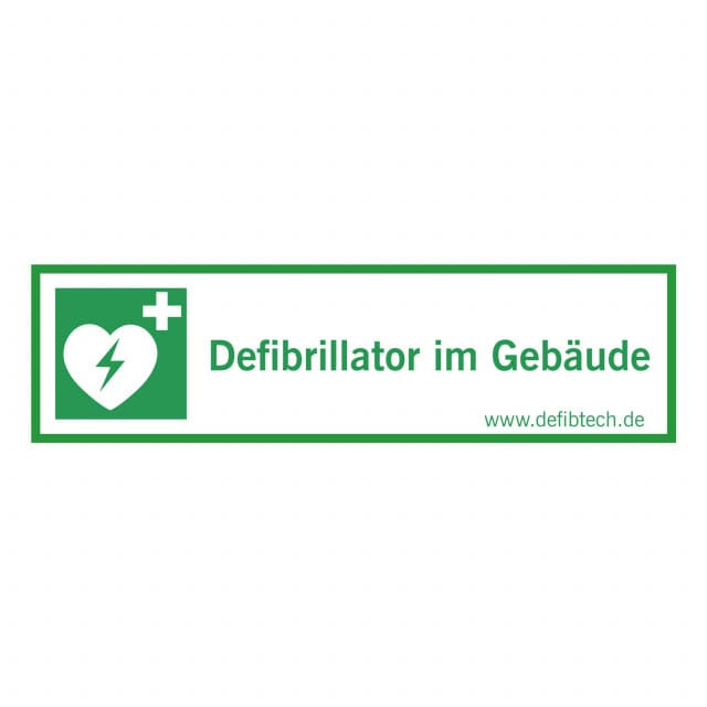 """Naklejka """"Defibrillator im Gebäude"""" - dostępna jedynie w j. niemieckim"""