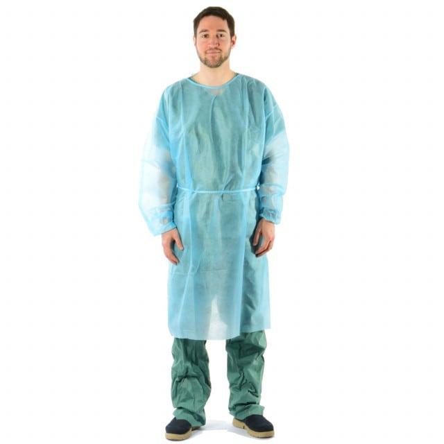 Bata desechable de tela no tejida de PP, con cintas de sujeción y puños elásticos en las mangas.
