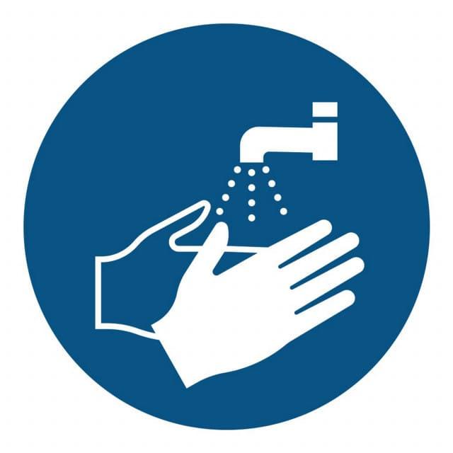 Segnale di obbligo di lavare le mani secondo ISO 7010, diametro 20 cm