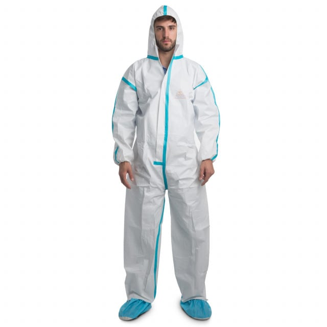 Disposable protective overall with hood and zipper