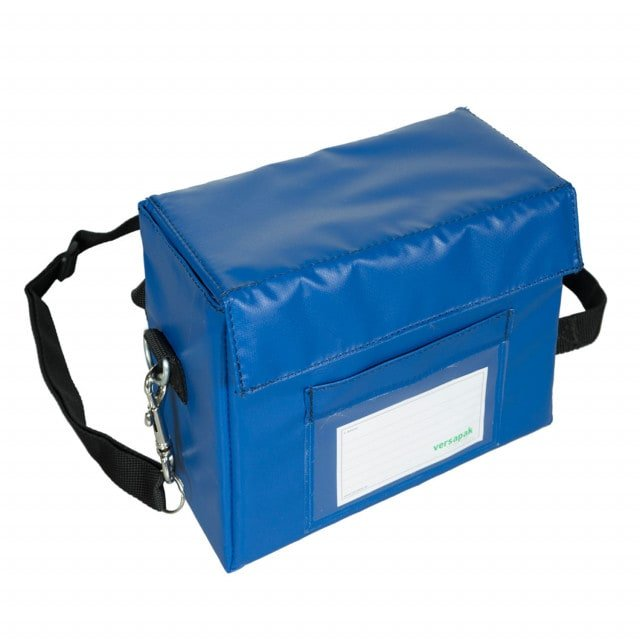 Blood vial carrier with shoulder strap and transparent window for labelling