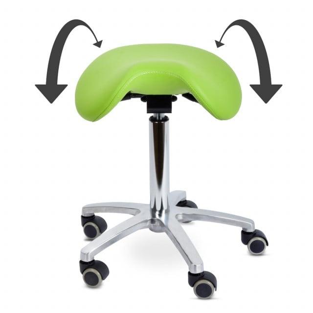 Draaikruk met kantelbare zadelzitting voor een ergonomische en gezonde zithouding