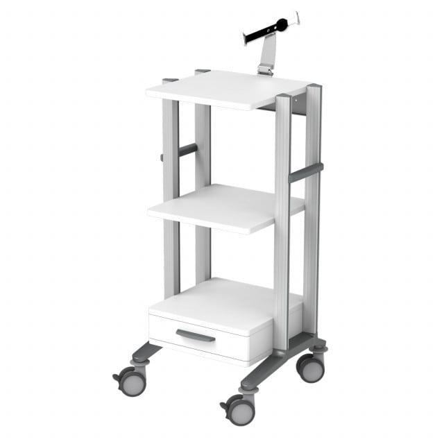 Doppio Tablet/iPad trolley optionally with grey or blue decorative stripes