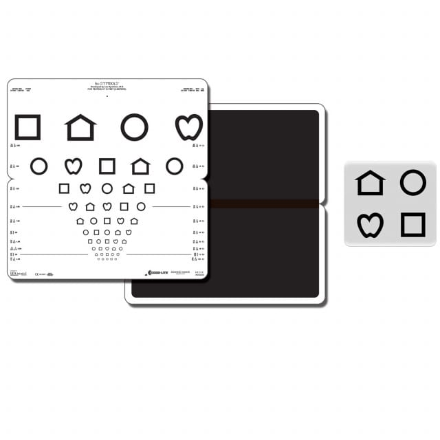 LEA SYMBOLS® folding pediatric eye chart for non-verbal visual acuity testing in nurseries a& primary schools