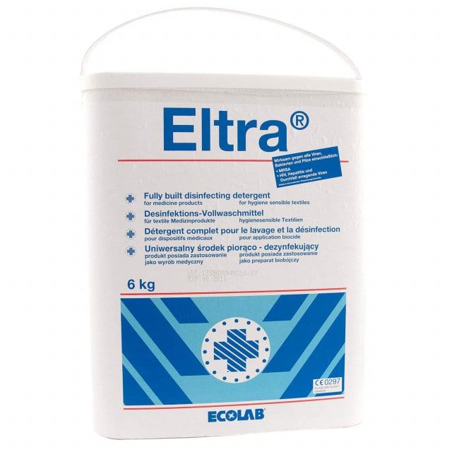 Eltra disinfectant detergent disinfects at 60°C, gentle on fibres