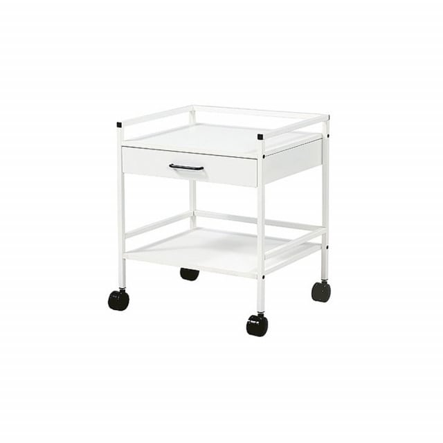 Multipurpose trolley with two trays and a drawer | Made of welded square tubing