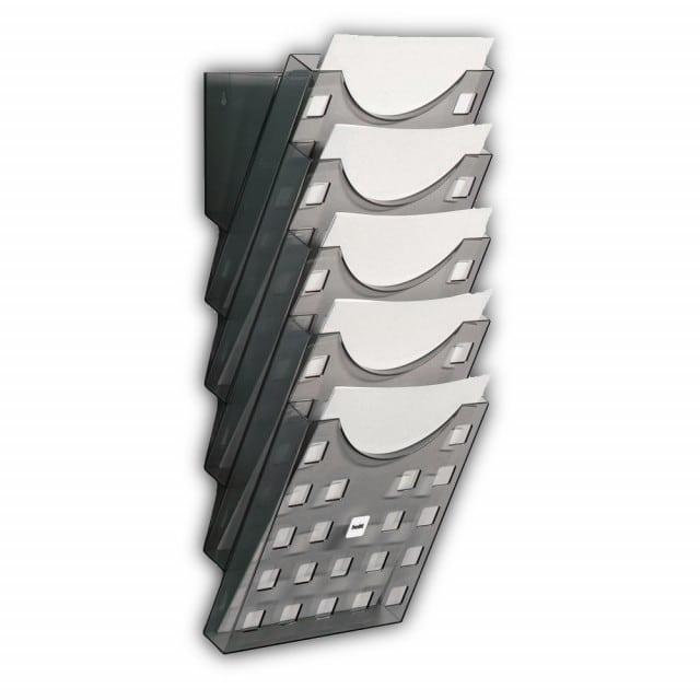 Wall brochure holder A4, grey-transparent