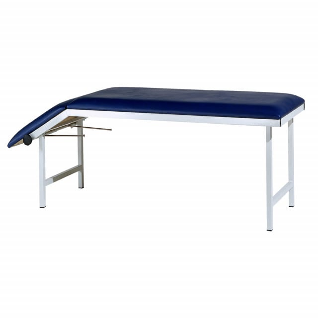 Versatile examination table with continous negative and positive headrest adjustment