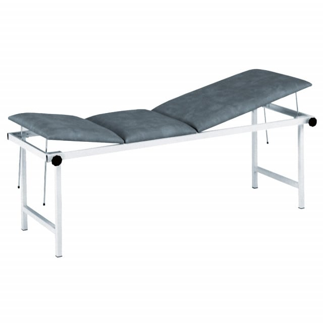 Robust exam table with adjustable headrest and foot section