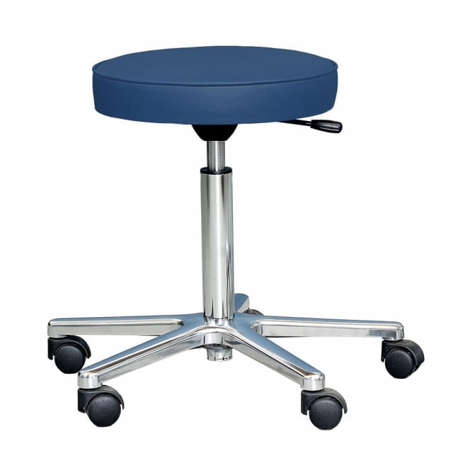 Lab stool with continuous height adjustment and polished aluminium base