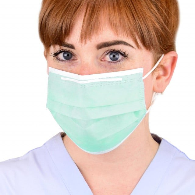 Mascherina per dentisti con ampia fascia nasale, 3 strati
