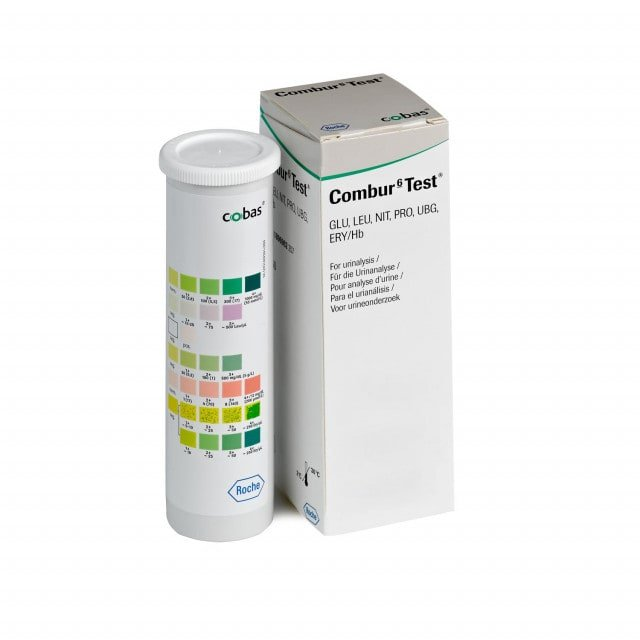 Roche Combur 6 for urinalysis of blood, urobilinogen and 4 other parameters