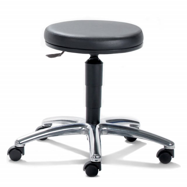 Swivel stool for the lab with 5 cm-thick upholstery and height adjustable from 40-51 cm