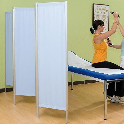 Biombo modular con tejido Trevira®: muy fácil de limpiar, estable y ligero