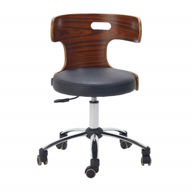 Designer swivel chair with genuine leather upholstery
