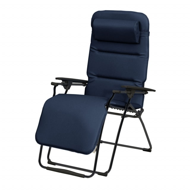 Folding lounge chair with comfortable, synthetic leather upholstery