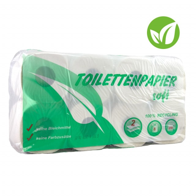 Recycled toilet paper soft - Made from 100% recycled material, pack of 64 rolls