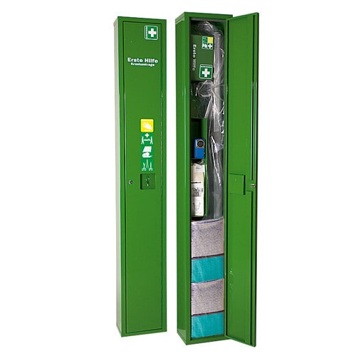 """""""SAFE"""" standing stretcher locker with contents"""