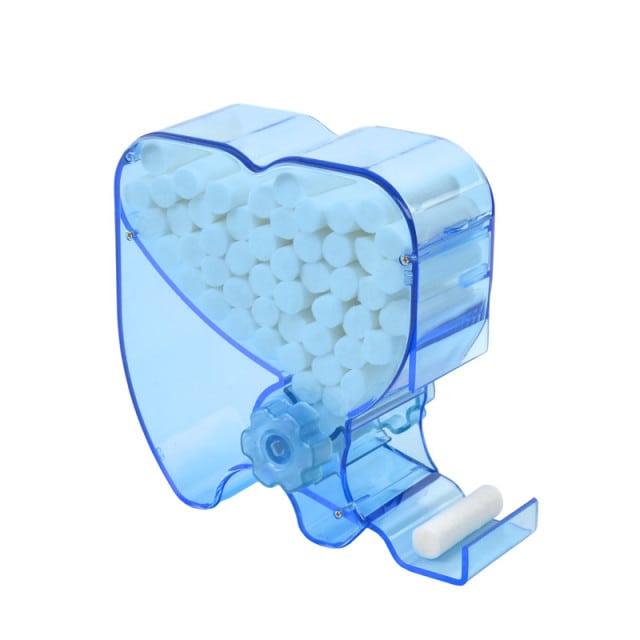 Stevige, kiesvormige dispenser voor hygiënische, individuele afgifte van wattenrollen