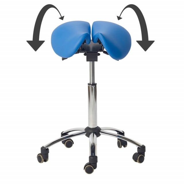 Tabouret de selle avec siège en 2 parties, réglable en inclinaison