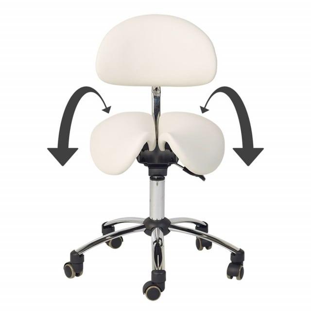 Sgabello ergonomico a sella con angolo di seduta regolabile