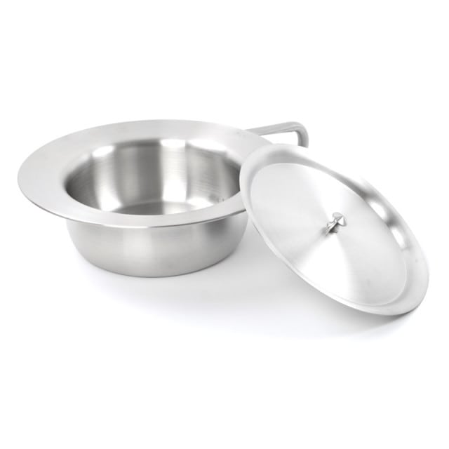 Stainless steel bed pan with lid and looped handle