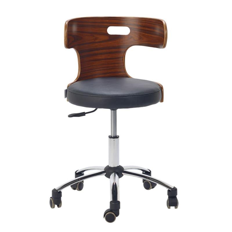 design drehstuhl echtleder drehhocker mit holz r ckenlehne. Black Bedroom Furniture Sets. Home Design Ideas