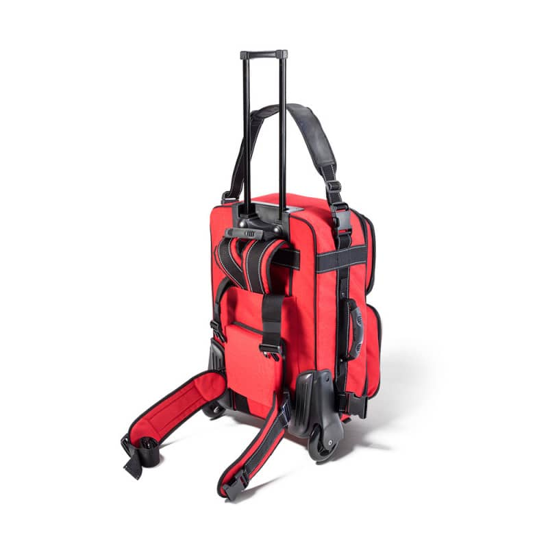 Emergency trolley with variable internal compartments; empty