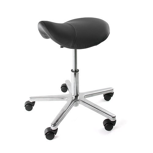 Swivel stool with saddle seat