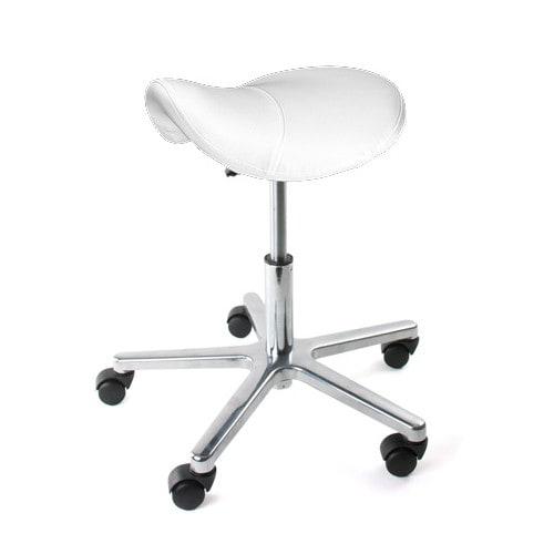 Swivel Stool With Saddle Seat White